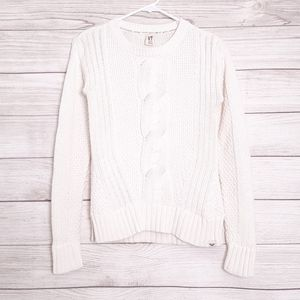 Roxy white cable knit crewneck sweater